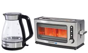 Kettle Toaster 56 Off Daewoo Glass Kettle And Toaster Groupon
