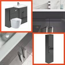 Combination Vanity Units For Bathrooms Newton Anthracite Grey Combination Bathroom Vanity Units Inc Wc Ebay