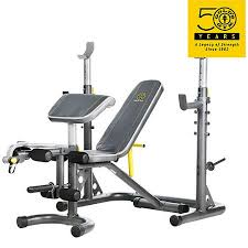 Bench Press Safety Stands Gold U0027s Gym Xrs 20 Olympic Workout Bench And Rack Walmart Com