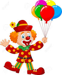 clown balloon l vector illustration of adorable clown holding colorful balloon