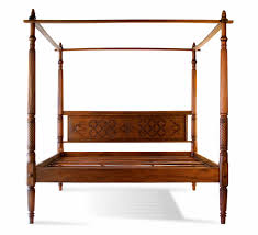 Wood Canopy Bed Frame Bedroom Asian Style King Size Low Profile Bed Frame With Side