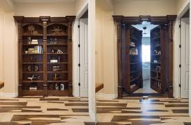 Wood Bookcase With Doors Bookcase Doors Secure Custom High Tech Secret Bookcases