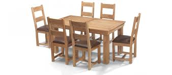 constance oak 160 cm dining table and 6 chairs quercus living