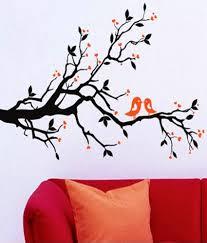 wow interiors and decors black orange pvc love bird wall sticker