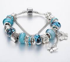 pandora jewelry silver bracelet images Butterfly blue charm bracelet for women queen julia jpg