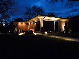 exterior best soffit lighting with flat roof and glass windows
