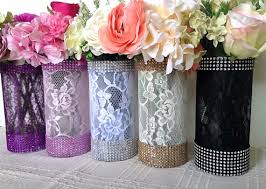 10x lace and rhinestone covered glass vases wedding bridal