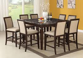 acme agatha 7pc black marble top rectangular dining room set in