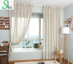 Country Style Window Curtains Modern Era American Country Style Color Woven Fabric With Hemp