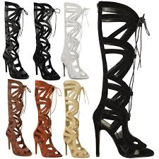 womens size 12 heel boots womens knee high lace up cut out shoes heels gladiator