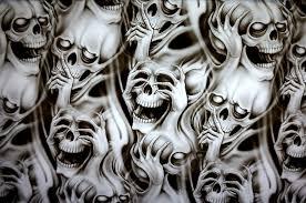skulls hydrographic prints showroom