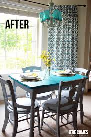 Painted Kitchen Table And Chairs by Kitchen Table Makeover With Chalky Finish Paint Here Comes The Sun