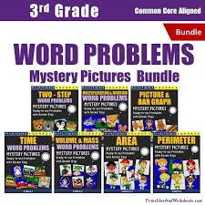 3rd grade word problems mystery pictures coloring worksheets