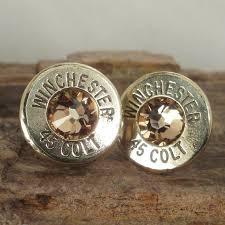 bullet stud earrings bullet earrings stud earrings ultra thin colt 45 gold
