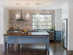 kitchen painted faux brick backsplash with wood countertops