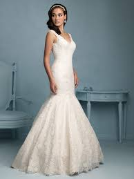 allure bridals 9201 lace open v back wedding dress