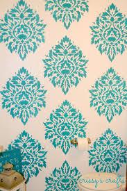 Powder Room Stencil Crissy U0027s Crafts Powder Room Stenciled Accent Wall
