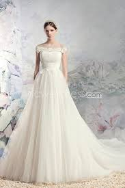 Chapel Train Wedding Dresses Us 209 99 A Line Round Neck Ruched Bodice With Appliques Accent
