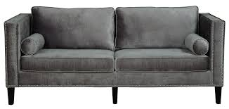 Gray Nailhead Sofa by Cooper Grey Velvet Sofa From Tov S29 Coleman Furniture
