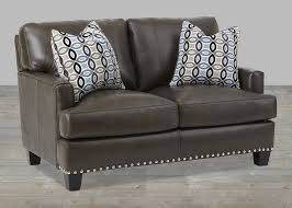 Grey Leather Sofa And Loveseat Gray Top Grain Leather Sofa With Nailhead