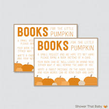 Card Inserts For Invitations Little Pumpkin Baby Shower Bring A Book Instead Of A Card