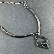 vintage silver choker necklace images Vintage jewelry blue gem silver choker necklace poshmark jpg