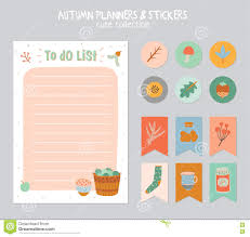 To Do Stickers Cute Daily Calendar And To Do List Template Stock Vector Image