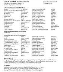 Opera Resume Template Theatre Resume Template Technical Theatre Resume Template 11105