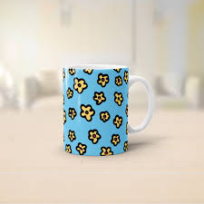 flower pattern mug illustrative blue and yellow colourful