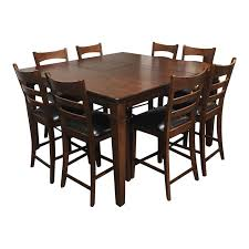 expandable bar height dining table eight stools design plus