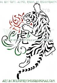zodiac tiger and rose tribal swirl design by wildspiritwolf on