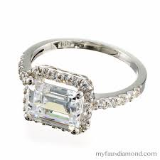 horizontal emerald cut engagement ring cubic zirconia emerald cut halo engagement ring my faux