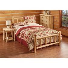 Wood Log Bed Frame Castlecreek Cedar Log Bed 235869 Bedroom Sets At