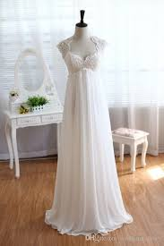 vintage modest wedding gowns capped sleeves empire waist plus size