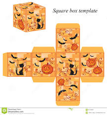 orange and black halloween background halloween box template with pumpkin black cat and bats stock