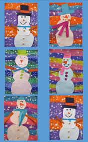 snowman art project w striped background paper projects