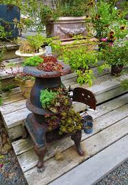 recycling stoves for metal planters to save money on outdoor