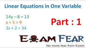 standard one maths maths linear equation in 1 variable part 1 introduction cbse