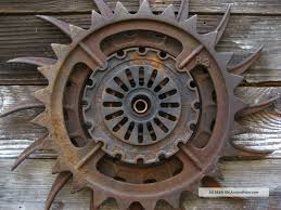 steampunk decor iron wheel vtg industrial machine age