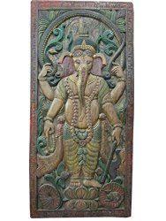 vintage ganesha panel carved wood door wall panels india