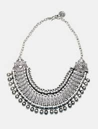 silver necklace images Vintage silver retro coin fringe bib statement necklace earrings jpg