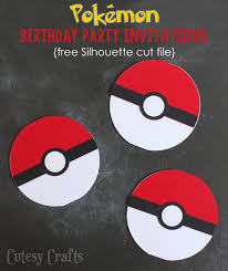 pokemon birthday party invitations with free silhouette cut file