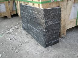 exterior design interlock black quartzite natural stone veneer panels