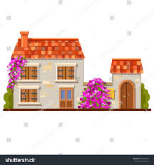 cute vector house red tile roof stock vector 576748975 shutterstock