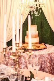 wedding backdrop linen blush and gold garden wedding rosette cake table linen with gold