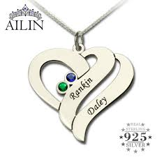 mothers pendants with birthstones wholesale two name hearts necklace engraved initial hearts