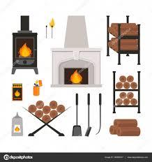 cartoon fireplace icons set vector u2014 stock vector bigmouse
