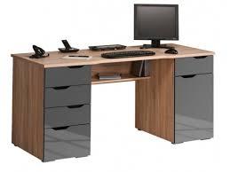 bureau gris laqué design en bois et gris laqué 1 porte 5 tiroirs waki