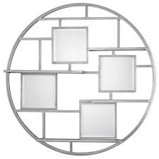 Uttermost Wall Sconces Uttermost 04089 Zaria Mirrored Round Wall Shelf Contemporary
