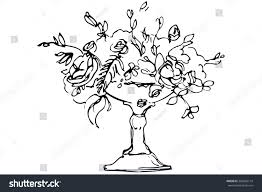 black white vector sketch bouquet roses stock vector 365009714